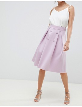 Asos Design Double Breasted Midi Prom Skirt by Asos Design
