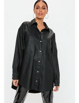 Black Oversized Coated Denim Shirt by Missguided