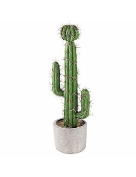 My Gift 13 Inch Artificial Saguaro Cactus In Cement Planter Pot by My Gift