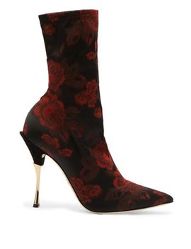Rose Jacquard Sock Ankle Boots by Dolce & Gabbana