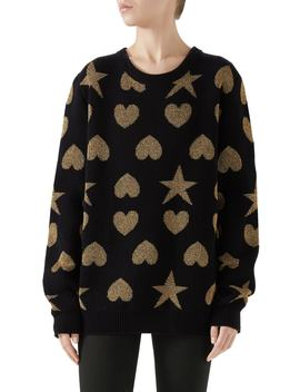 Metallic Logo Wool Blend Sweater by Gucci