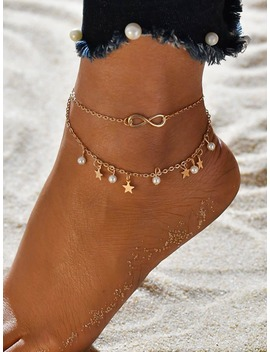 Star & Infinity Layered Chain Anklet 2pcs by Romwe