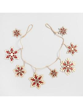 Red And Natural Wood Snowflake Garland by World Market