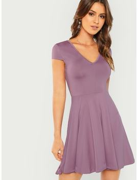 Solid Fit & Flare Dress by Shein