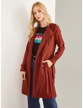Flap Back Belted Trench Coat by Shein