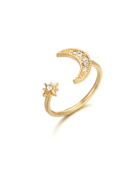 Moon & Star Decorated Ring Cuff by Romwe