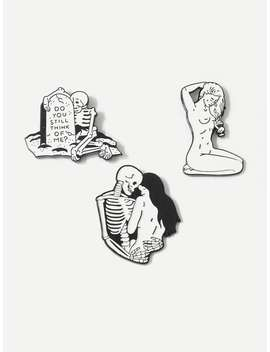 Skeleton & Figure Brooch Set 3pcs by Romwe