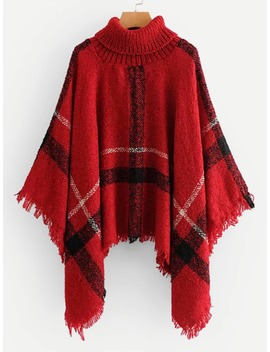Raw Hem Poncho Sweater by Romwe