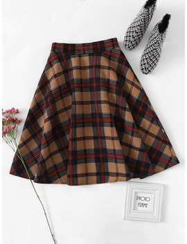 Elastic Waist Checked Skirt by Romwe
