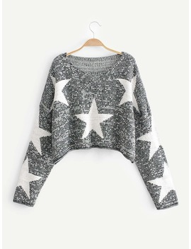 Drop Shoulder Star Pattern Crop Jumper by Romwe