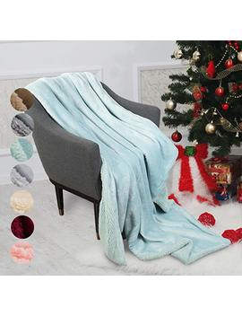 """Catalonia Teal Sherpa Throws Blanket For Girl,Super Soft Comfy Fuzzy Micro Plush Fleece Snuggle Blanket For Tv Bed Sofa Couch Reversible Match Color All Season 50""""X60"""" by Catalonia"""