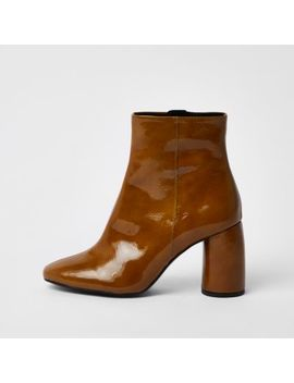Brown Shiny Leather Bubble Heel Ankle Boots by River Island