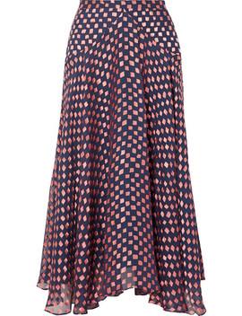 Ida B Fil Coupé Silk Blend Chiffon Midi Skirt by Saloni