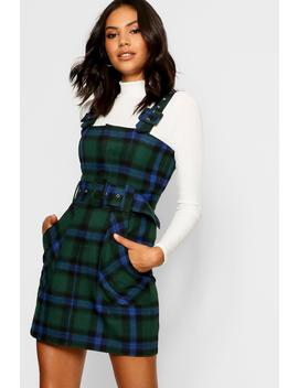 Checked Buckle Detail Pinafore Dress by Boohoo