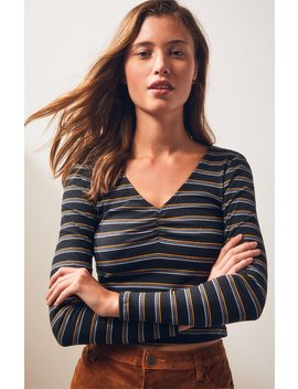 Ps Basics By Pacsun Cinched Double V Neck Long Sleeve Top by Pacsun