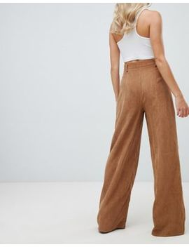 Missguided Wide Leg Cord Trousers In Camel by Missguided