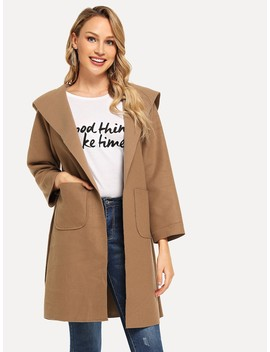 Self Tie Hooded Tweed Coat by Romwe