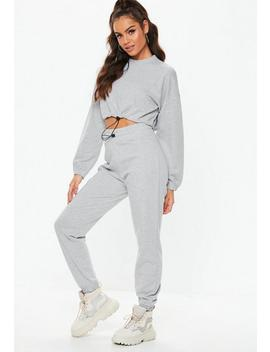 Grey Toggle Cropped Top Joggers Co Ord Set by Missguided