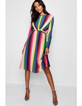Rainbow Tie Front Midi Dress by Boohoo