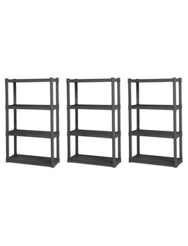 Sterilite 4 Shelf Durable Solid Gray Surface Shelving Unit, 3 Pack   01643 V01 by Sterilite
