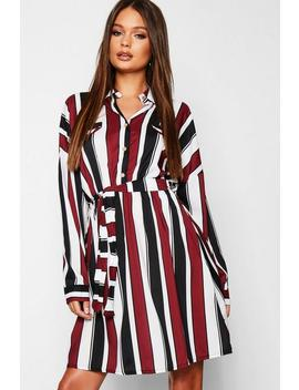 Satin Stripe Utility Belted Shirt Dress by Boohoo