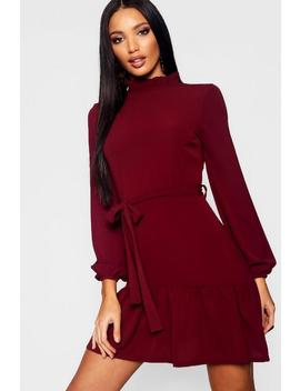 Woven Ruffle Detail Neck Tie Waist Skater Dress by Boohoo