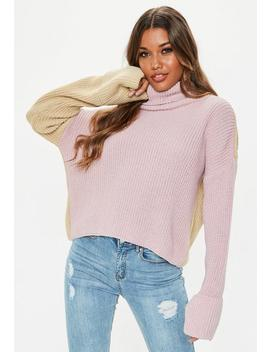 Petite Lilac Colourblock Roll Neck Jumper by Missguided