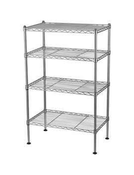 """Muscle Rack 20""""W X 12""""D X 32""""H Four Level Wire Shelving, Chrome by Edsal"""