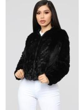 Look Don't Touch Fuzzy Jacket   Black by Fashion Nova