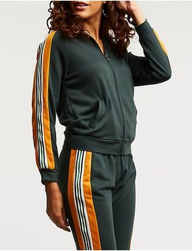Colorblock Zip Up Track Jacket by Charlotte Russe