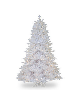 National Tree 7 .5' Feel Real Madison White Fir Hinged Tree With 750 Clear Lights by National Tree Company