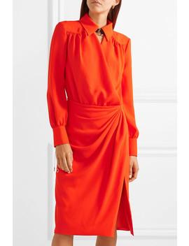 Kat Leather Trimmed Draped Crepe Midi Dress by Altuzarra
