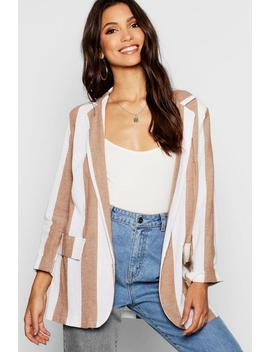 Linen Look Stripe Blazer by Boohoo
