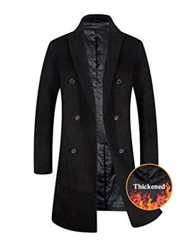 Men's Trench Coat 80 Percents Wool Content French Long Jacket Winter Business Top Coat by Eletop