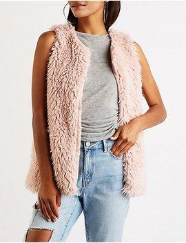 Shaggy Faux Fur Longline Vest by Charlotte Russe