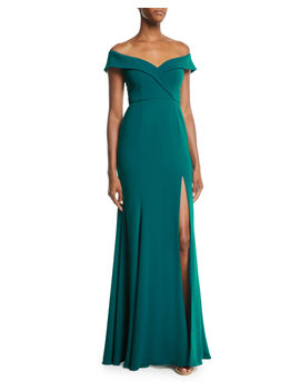 Off The Shoulder Crepe Gown W/ Front Slit by Jay Godfrey