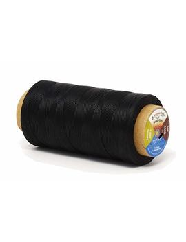 Mandala Crafts 150 D 210 D 0.8mm 1mm Leather Sewing Stitching Flat Waxed Thread String Cord (150 D 0.8mm 250 M, Black) by Mandala Crafts