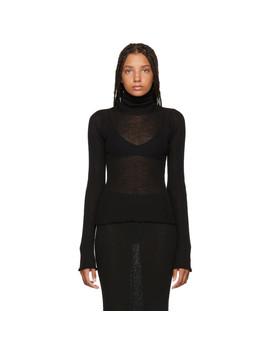 Black Delicate Wool Turtleneck by Mm6 Maison Margiela