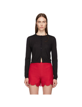 Black Cashmere & Silk Cropped Cardigan by Red Valentino