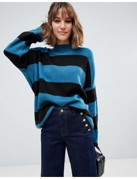 Glamorous Oversized Knitted Sweater In Tonal Stripe by Glamorous