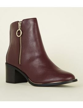 Wide Fit Dark Red Metal Trim Ankle Boots by New Look