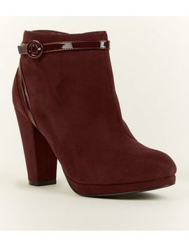 Dark Red Comfort Suedette Patent Trim Heeled Ankle Boots by New Look