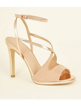 Rose Gold And Pink Cross Strap Peep Toe Stilettos by New Look