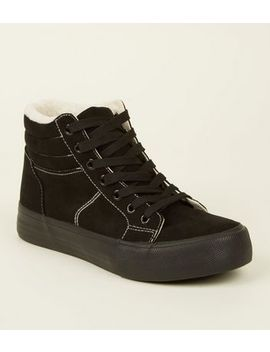 Black Suedette High Top Borg Trainers by New Look