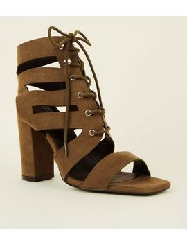 Khaki Suedette Ghillie Lace Up Block Heels by New Look