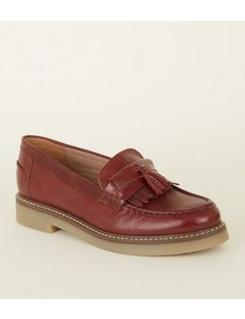 Burgundy Leather Chunky Tassel Loafers by New Look