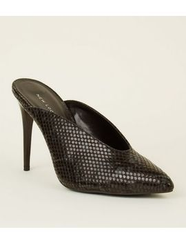 Black Faux Snake Dip Front Mules by New Look