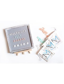 Modernivity Grey Felt Letter Board: Rustic Wooden Framed Changeable Word And Announcement Sign With Stand And Wall Mount   1,005 Multi Colored Plastic Letters, Characters, Numbers And Emojis   10 X 10 by Modernivity