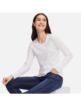 Damen Compact Cotton Langarmshirt Mit Rundhalsausschnitt by Uniqlo