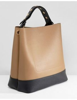 Warehouse Bucket Bag With Popper Strap In Tan by Warehouse